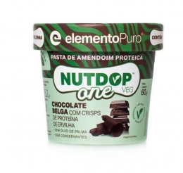 NUTDOP ONE VEG PASTA DE AMENDOIM VEGANA (60G) - Chocolate Belga com Crisps de Proteína de Ervilha