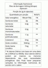 Óleo de Borragem 500mg (60caps)